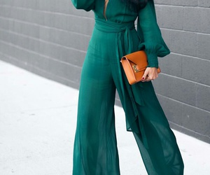 straight black hair, brown clutch, and green jumpsuit image