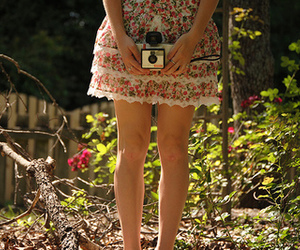 camera, girl, and flowers image