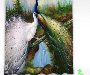 painting, shower curtain, and bird peacock image
