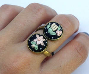 flower ring, hand embroidered, and rings for women image