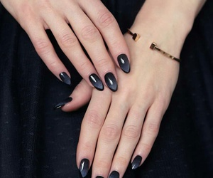 gold bracelets, almond nails, and ombre nails image