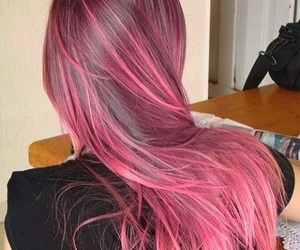 hair, green, and pink image