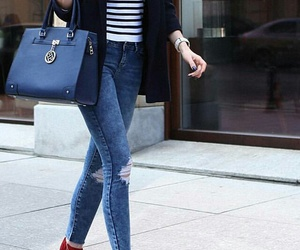 black blazer, blue ripped jeans, and polka dot scarf image