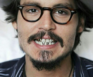 johnny depp, actor, and glasses image