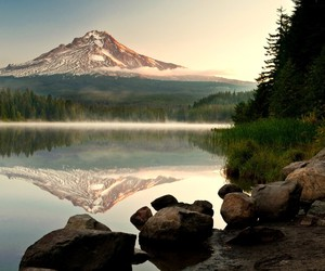 lakes, mountains, and reflections image