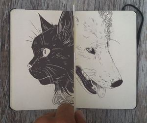 cat, wolf, and dog image