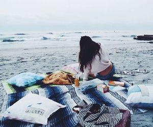beach, girl, and sea image