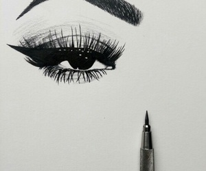art, eye, and drawing image