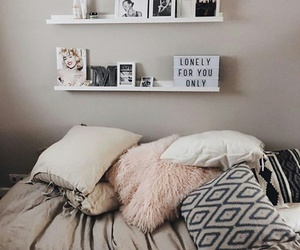 bed, decoration, and pillows image