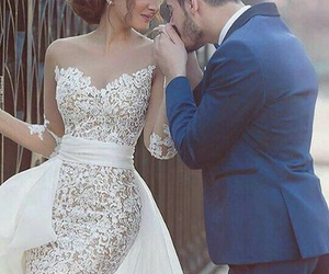 hairstyle, kiss, and wedding dress image
