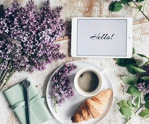 flowers, coffee, and breakfast image