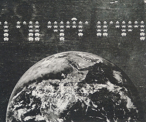 b&w, space, and earth image
