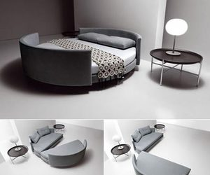 bed, interior, and sofabed image