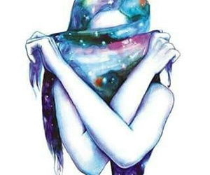 girl, art, and galaxy image
