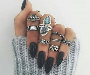 black, nails, and ring image