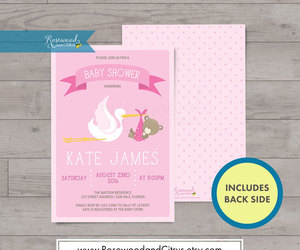 baby bear, baby shower invites, and rosewoodandcitrus image