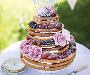bride and groom, brides, and wedding cake image