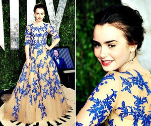 dress, lily collins, and blue image
