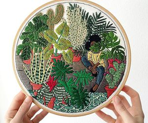 art, embroidery, and cactus image