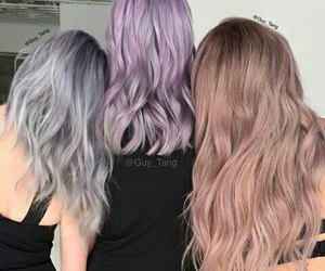 grey, hair, and purple image