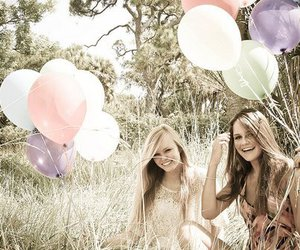 girl, friends, and balloons image