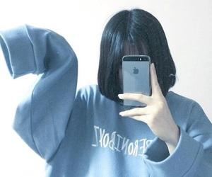 korea, blue, and girl image