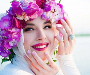 hijab and flowers image