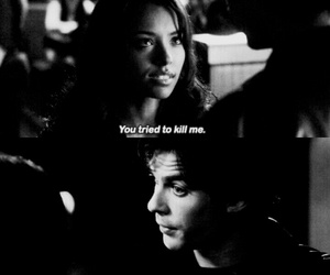 black and white, Bonnie, and damon image