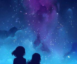 chicas, cielo, and estrellas image