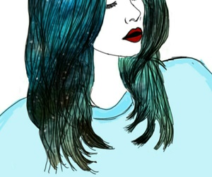 outline, blue, and girl image