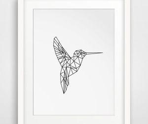 art, geometric, and hummingbird image