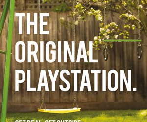 playstation, outside, and swing image