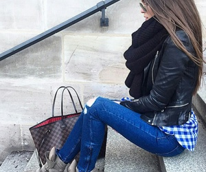 black scarf, long straight brown hair, and blue ripped jeans image