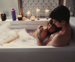 bath, candels, and girlfriend image