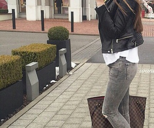 black leather jacket, long straight brown hair, and louis vuitton purse image