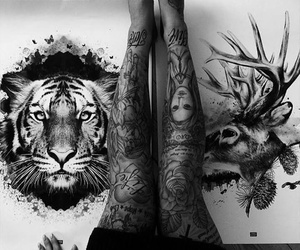 tattoo, art, and black and white image