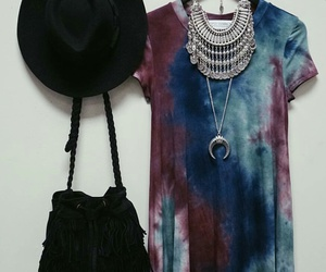 black hat, statement necklaces, and silver necklaces image