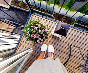 balcony, luxury, and flowers image