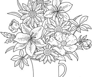 flower design, adult coloring, and coloring page image