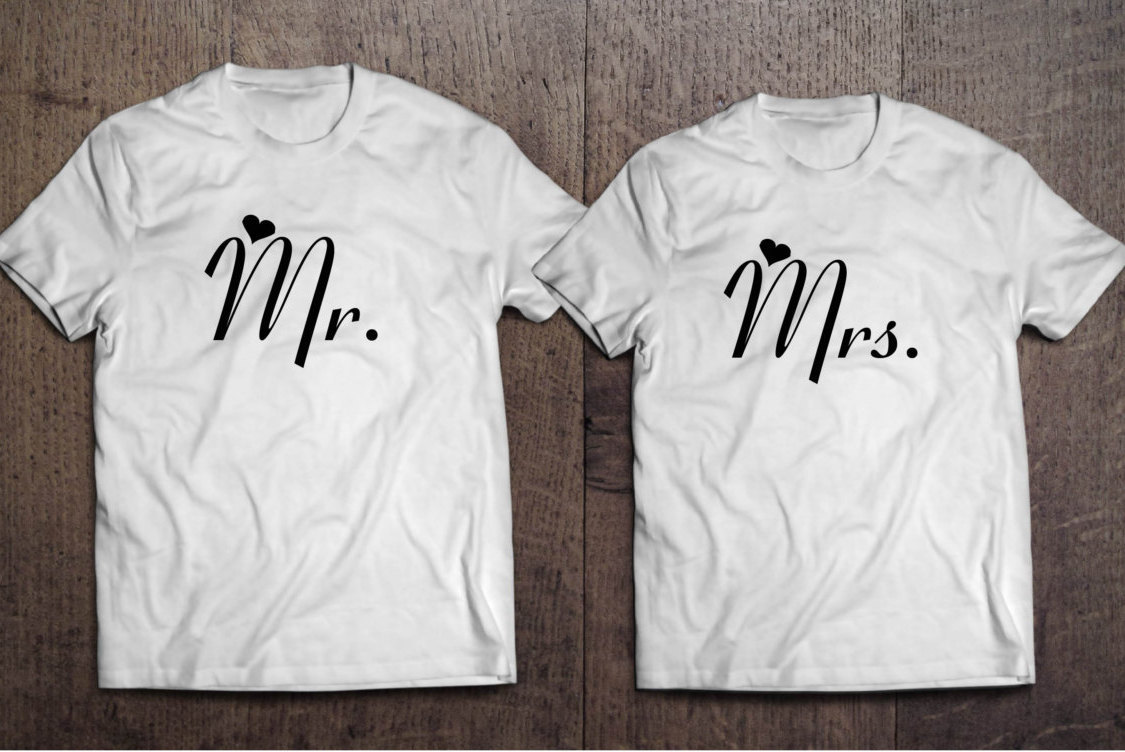 e6634daecb34 Mr. and Mrs. Bride and Groom Couple Bachelor Party T-Shirts Mr. and ...