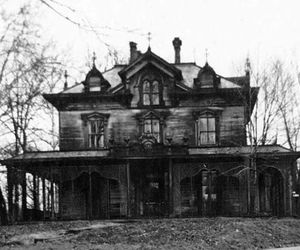 house, black and white, and abandoned image