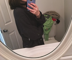brown hair, girl, and mirror image