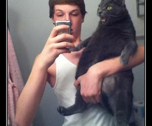 boy, funny, and cat image