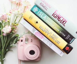 book, pink, and flowers image