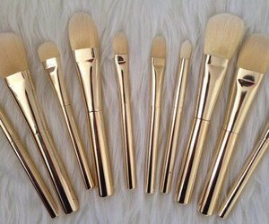makeup, Brushes, and gold image