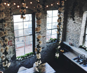 flowers, interior, and kitchen image