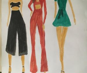 drawing, fashion sketch, and fashion image