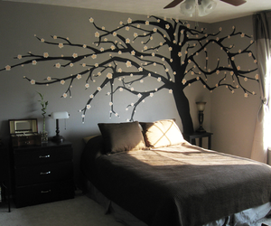 room, bedroom, and tree image