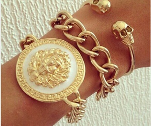 gold, bracelet, and Versace image