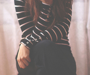 girl, fashion, and stripes image